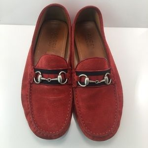 Gucci Red Suede Loafers size 10